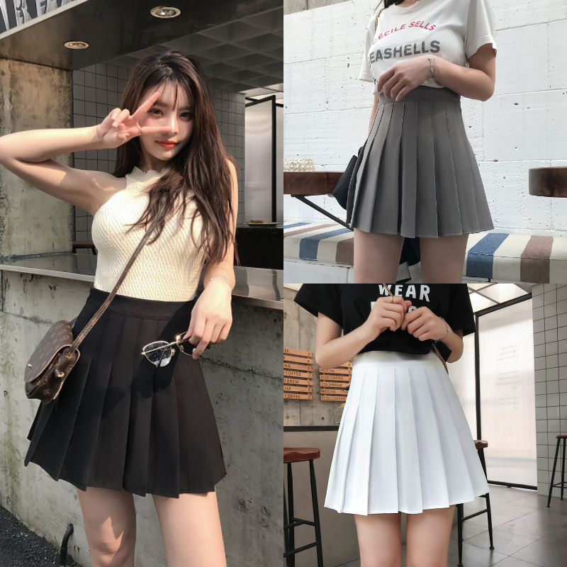 Women Preppy Style Skirt Ladies Girls Solid A-line Cute Pleated Empire Mini Skirts(Safety Pants Inside)