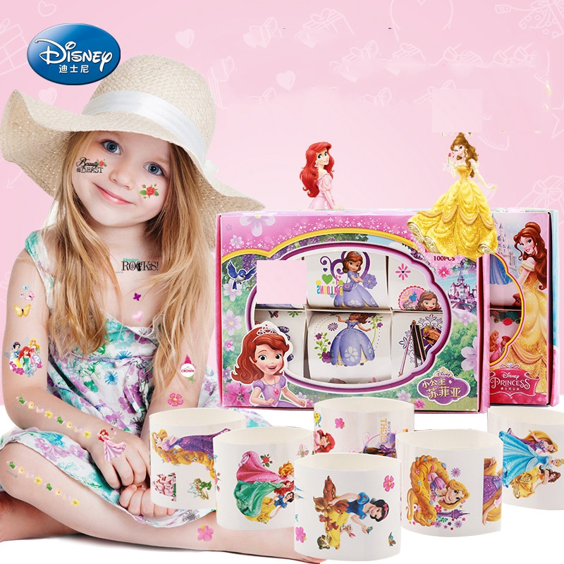 6pcs/set Disney Children Personality Waterproof Tattoo Sticker Cartoon Frozen Elsa Princess Sofia Sticker Beauty Toys Girl Gift