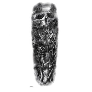 Hell Demon Lucifer Full Arm Waterproof Temporary Tattoos Men Kit Tattoo Arm Sleeves Temporary Tatoo Stickers Fake Tatoo Men 1pc nylon tatoo arm stockings arm warmer cover elastic fake temporary tattoo sleeves for men women new arrival
