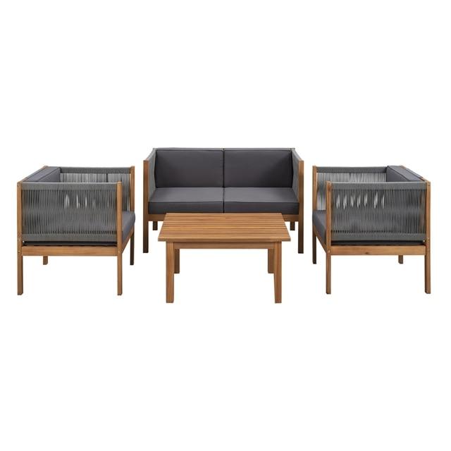 4PCS Wooden Outdoor Tea Room Chair Set  1
