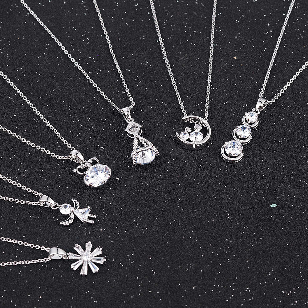 2019 New Fashion Women Charm Silver Crystal Zircon Necklace Pendant Choker Chain Women Jewelry Chirstmas Gifts Drop shipping