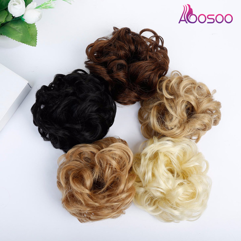 AOOSOO  Hair Band With Rubber Band Synthetic Hair Donut Hair Piece Hairpin Wrapped Ponytail