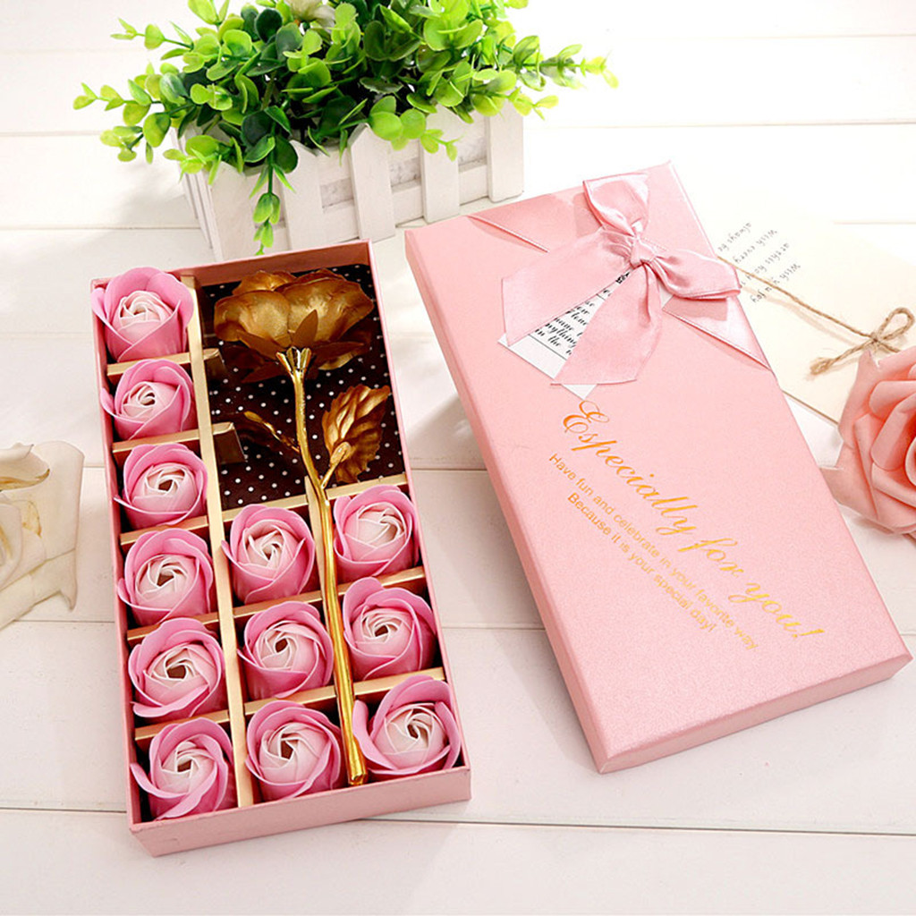 Rose Soap Flower Box Wedding Decoration Best Gift Festival Box Heart Scented Bath Body Petal Rose Flower Soap Case #40