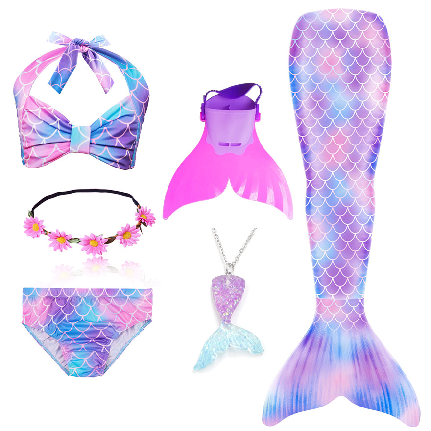 H3357a83bff064e4a9d9cee815ad538c9j - Kids Swimmable Mermaid Tail for Girls Swimming Bating Suit Mermaid Costume Swimsuit can add Monofin Fin Goggle with Garland