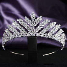 Trendy Cubic Zirconia Wedding Bridal Tall Tiaras and Crowns CZ Pageant Headpieces Party Prom Hair Jewelry Women Accessories