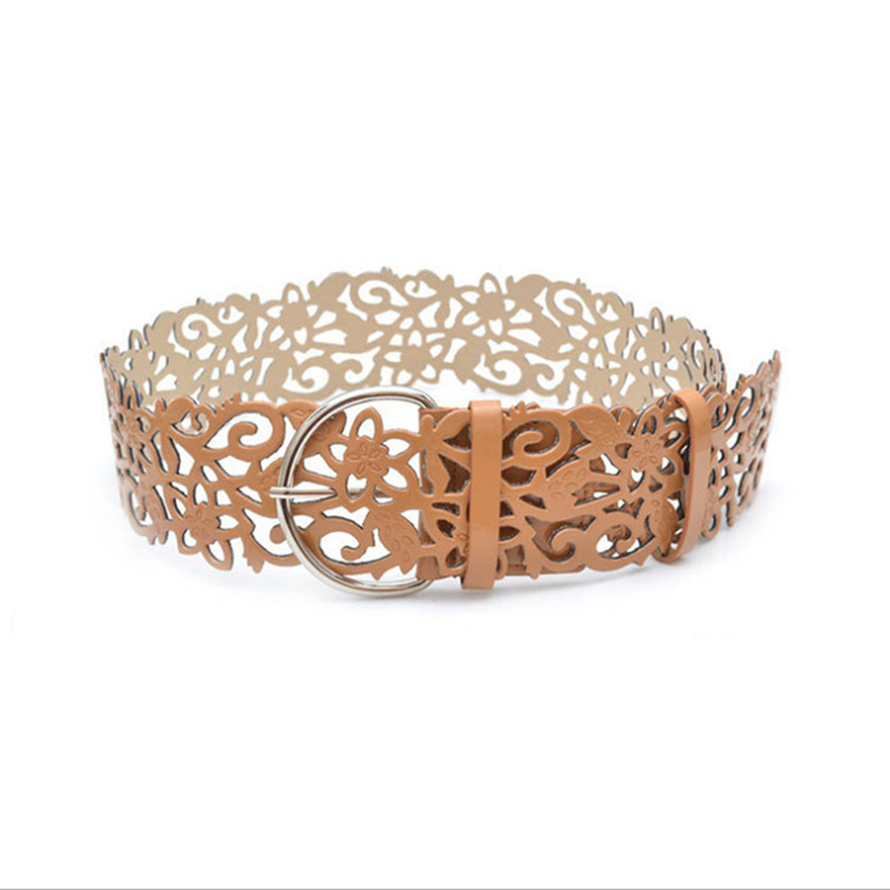 2019 Elegant Ultra Wide Women's Waistband Female Fashion Solid Cutout Flower Belt Strap Decoration Wide Belt Cinturon Mujer