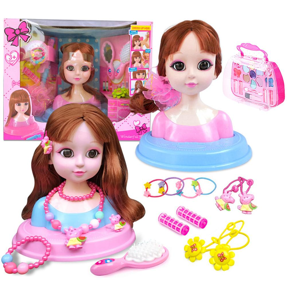 Doll Head Girl Toy Set Children's Dressing Doll Gift Box Set Half-length Doll Princess Makeup Play House Toy For Girls