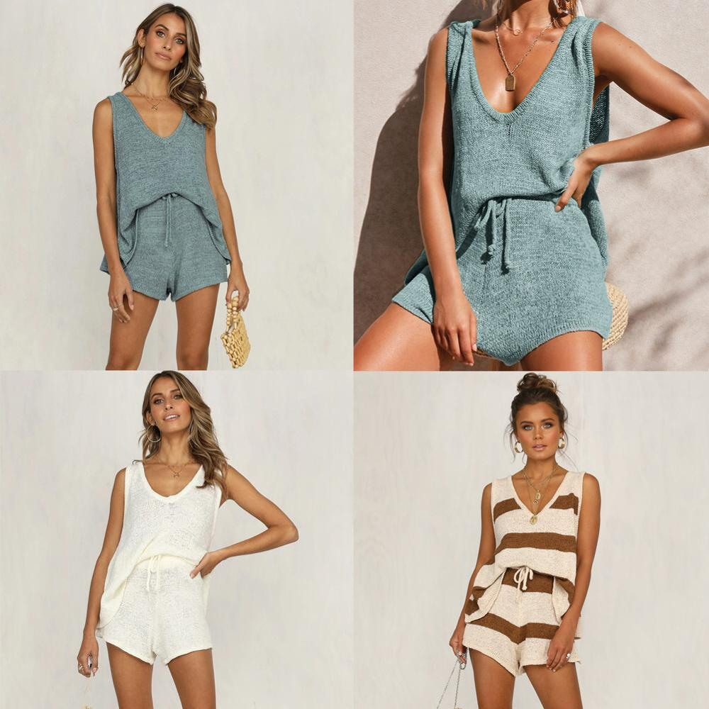 Women 2 Piece Set Sexy Deep V-neck Sleeveless Knitted Tank Top Shorts Set Summer New Solid Color Casual Loose Drawstring Outwear