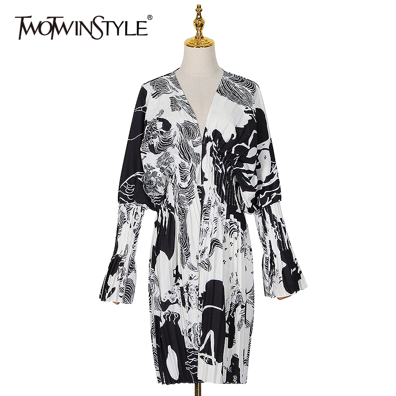 TWOTWINSTYLE Hit Color Print Women Dress V Neck Batwing Sleeve High Waist Patchwork Casual Dresses Female New Cloth 2020 Summer