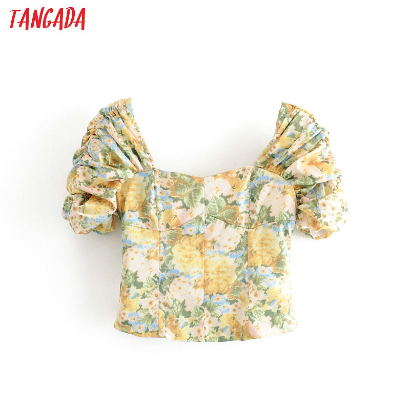 Tangada Women Retro Floral Print Crop Shirt French Style Short Sleeve 2020 Summer Chic Female Sexy Blouse Tops 1T15