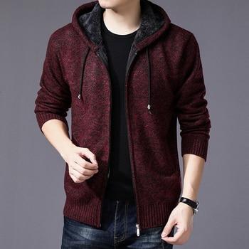 Sweater Coat Men 2020 Winter Thick Warm Hooded Cardigan Jumpers Striped Wool Liner Zipper Fleece Coats