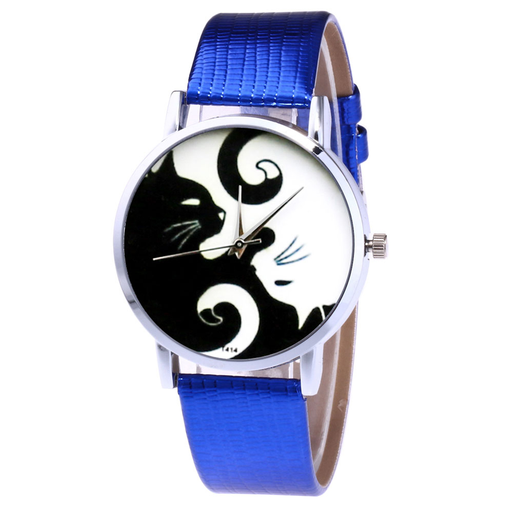 Cute White And Black Cats Couple Watches With PU Leather Strap And Round Dial LL@17