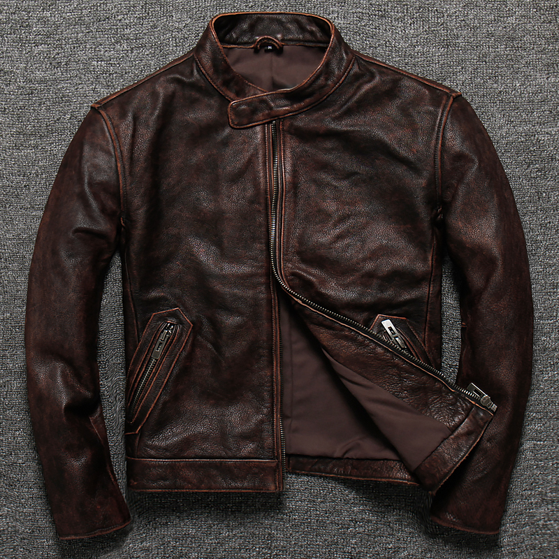 Vintage Genuine Leather Jacket Men Short Spring Autumn Mens Real Cow Leather Jacket Stand Collar Motorcycle Cowhide Slim
