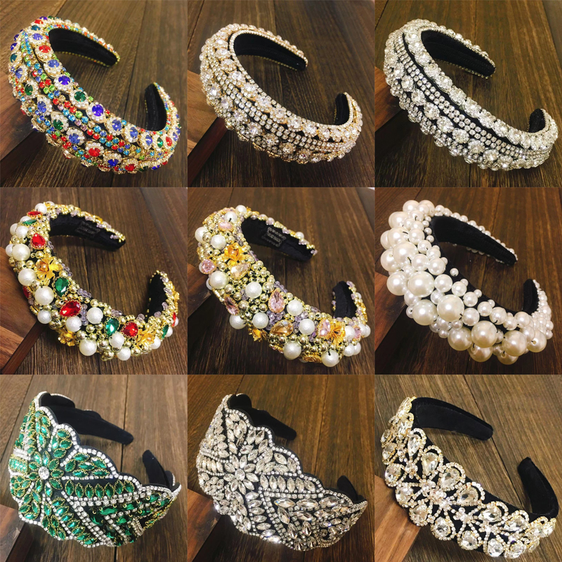 2021 Luxury Baroque Sparkly Padded Rhinestones Headbands Full Crystal Hairbands Wide Diamond Headwear Hair Accessories Women