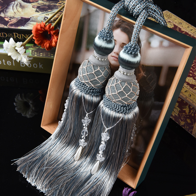 2pcs/lot Curtain Hanging Ball Tassel Silk Fringe Sewing Bangs Flower Decorative Tassels For Curtains Home Decoration Accessories