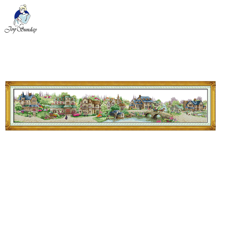 European Town Home Decor Cross-stitch Sets Diy Embroidery Needlework Kits Painting Counted Print On Canvas DMC 11/14ct Landscape