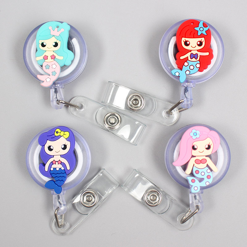 New Cartoon 60cm Silicone The Little Mermaid Retractable Badge Reel Student Nurse Exhibition Enfermera Name Card ID Card Chest