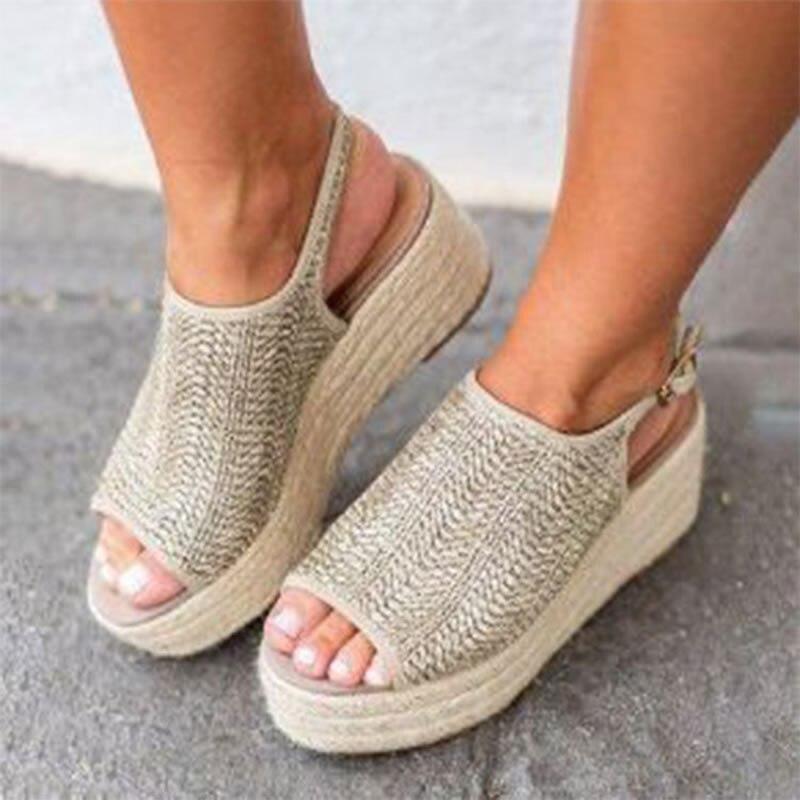 Summer Autumn Women Sandals Fashion Female Beach Shoes Vintage Wedge Heels Shoes Plus Size 35-43 Comfortable Platform Shoes
