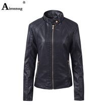 2019 Women Fashion Pu Leather Jacket Black Brown Washed Tunic Outerwear Jacket Mandarin Collar Zippers Pockets Slim Ladies Coats brown fashion self tie design midi outerwear with side pockets
