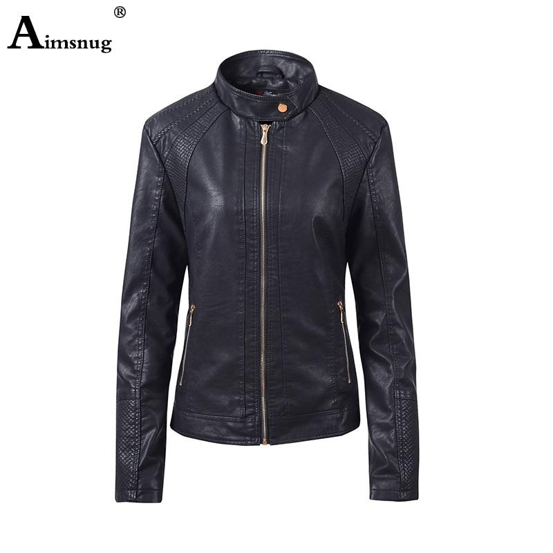 2019 Women Fashion Pu   Leather   Jacket Black Brown Washed Tunic Outerwear Jacket Mandarin Collar Zippers Pockets Slim Ladies Coats
