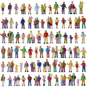 Image 2 - 100Pcs HO Scale Painted Figuresคน1:87ชุดรถไฟยืนผู้โดยสารAssorted Pose P100W