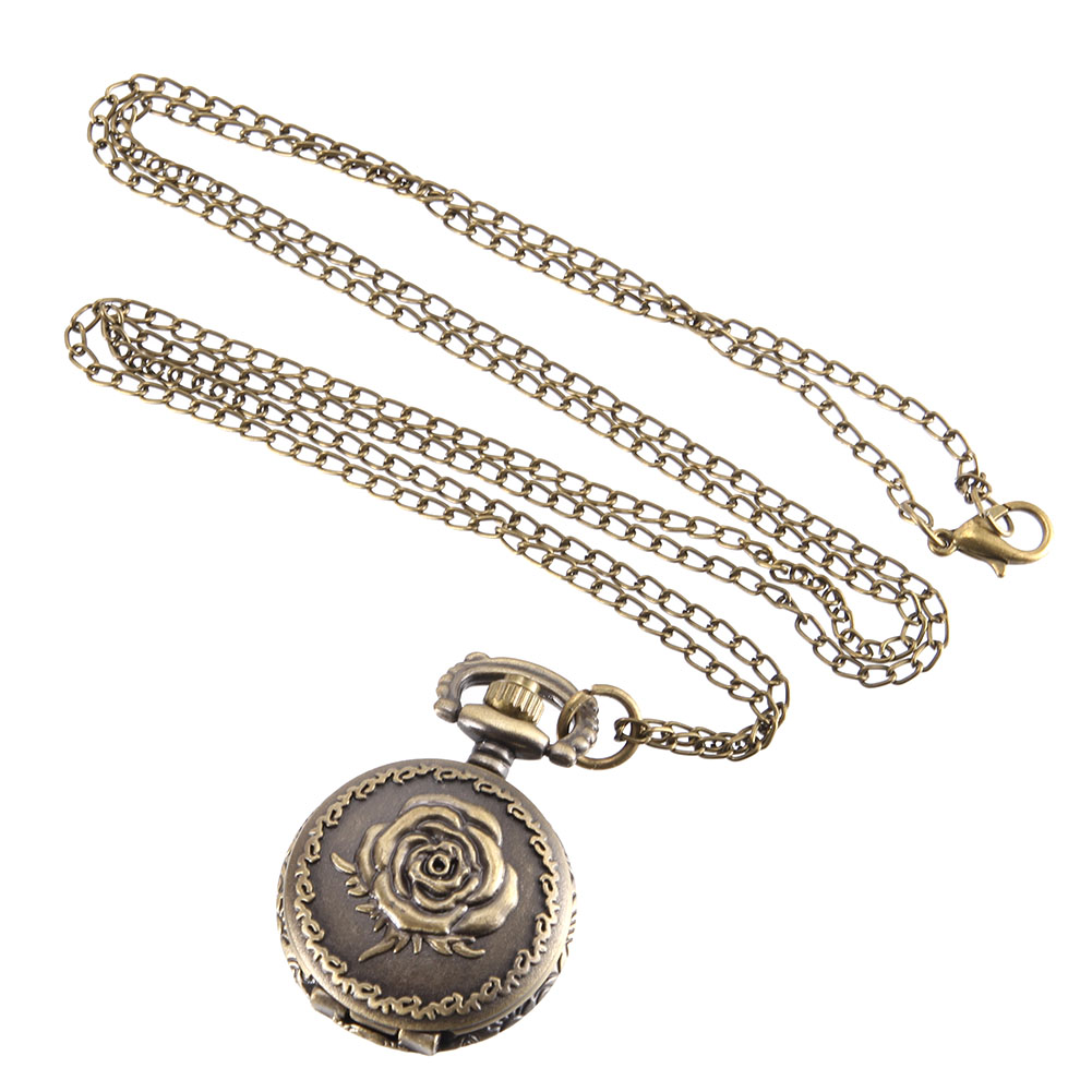 Vintage Pocket Watch Bronze Color Quartz Watch Cool Chain Rose Watches S55