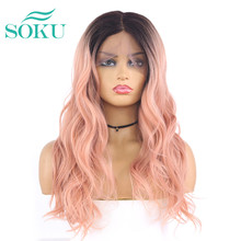 13x4 Ombre Synthetic Lace Front Wigs For Black Women Long Wave L Part