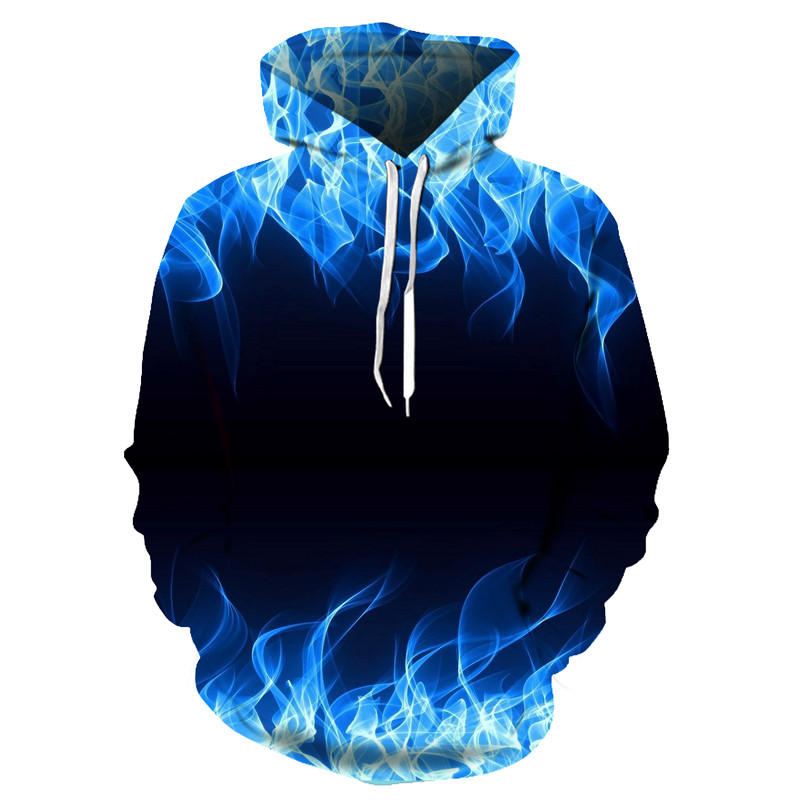 Yellow and blue flame 3D autumn men's sweatshirt ladies hooded jacket hooded men 3D hoodie hip-hop clothes