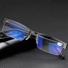Ti-CARING Blue Film Resin Reading Glasses Men Women Metal Half Frame Hyperopia Eyeglasses Diopter bifocal sunglasses