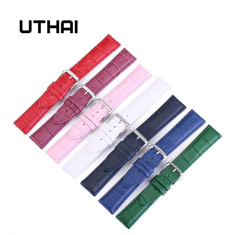 UTHAI Z11 New Watch Bracelet Belt Woman Watchbands Genuine Leather Strap Watch Band 10-24mm Multicolor Watch Bands