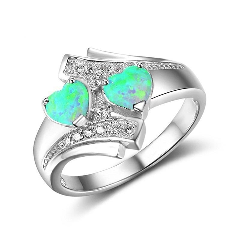 Romantique pierre de lune bleu coeur feu opale Bague bijoux pour Femme Couple personnalité mariage fiançailles cadeaux Bague Argent Femme