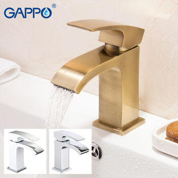 Gappo Waterfall Basin Faucets Brushed Gold Gaucet Bathroom Hot Cold Faucet  Brass Bathroom Sink Faucet Tap torneira 1
