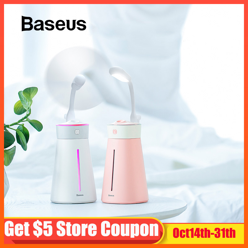 Baseus Humidifier USB Air Diffuser For Office Home Humidifer With Colorful LED Night Light  Fan Purifier Humidificador
