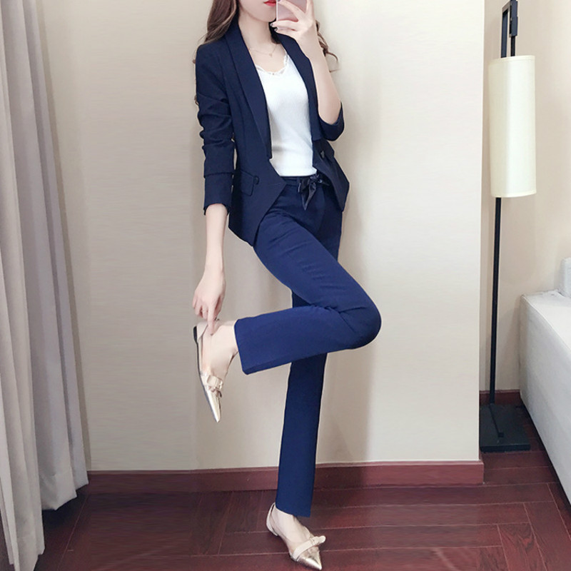 Women's Long Suit 2019 Autumn New Fashion Temperament Casual Slim Solid Color Single Buckle Small Suit Trousers Two-piece