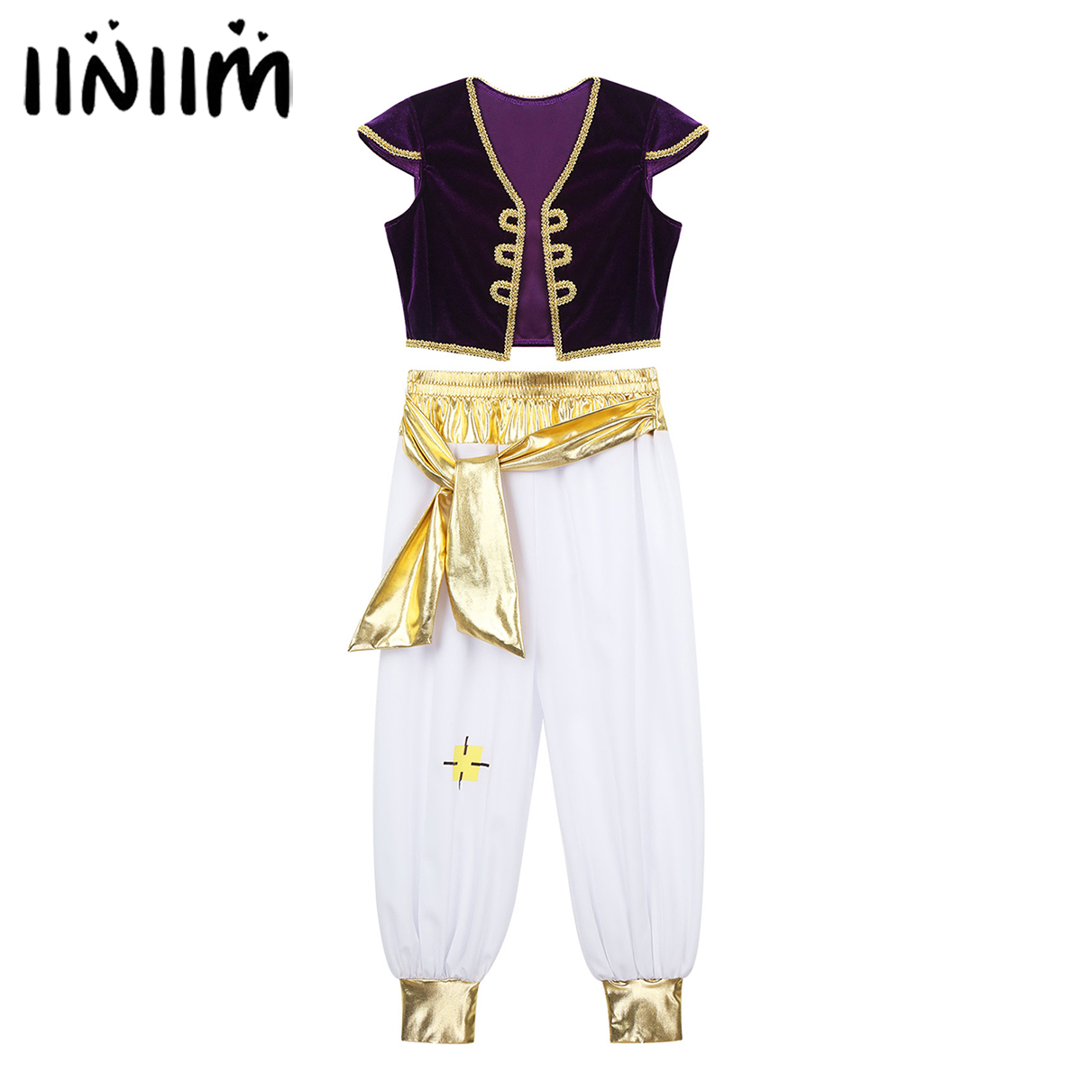 Kids Boys Children Arabian Prince Lamp Cosplay Costumes Cap Sleeves Vest Waistcoat With Pants Set For Halloween Parties Dress Up