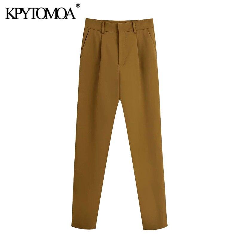 KPYTOMOA Women 2020 Fashion High Waist Darted Straight Pants Vintage Zipper Fly Side Pockets Female Trousers Pantalones Mujer