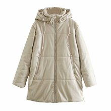 Winter Coat Long Jacket Faux-Leather Toppies Hooded Thicker Woman Outwear Warm-Padded