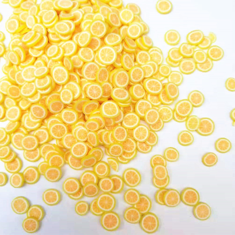 20 г/лот 5 мм лимонный ломтик фрукты Полимерная глина пластиковые клейкие частицы грязи для изготовления карт крошечные милые поделки «сдела...