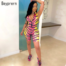 Beyprern New Chic Tiger Print Rompers Summer Womens Zipper F