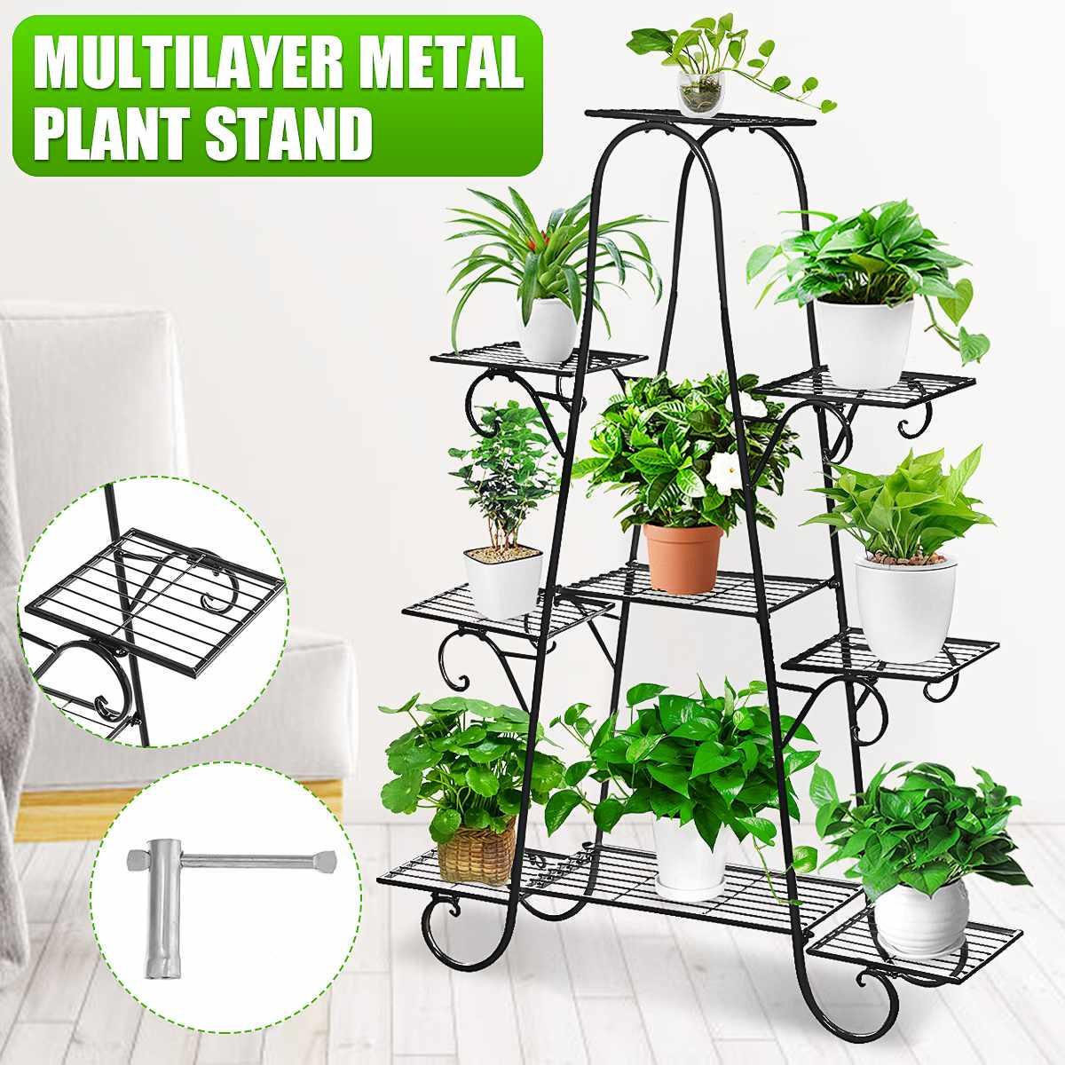 Plant Shelves Flower-Rack Bonsai-Display Balcony Patio Garden Multi 9-Tiers Pot Yard