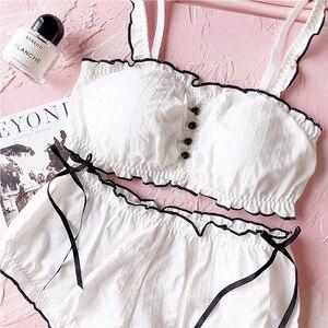 Image 2 - Conjunto de roupa íntima de algodão, trajes para meninas sem fio, pijamas de casa, conjunto de sutiã fofo calcinha