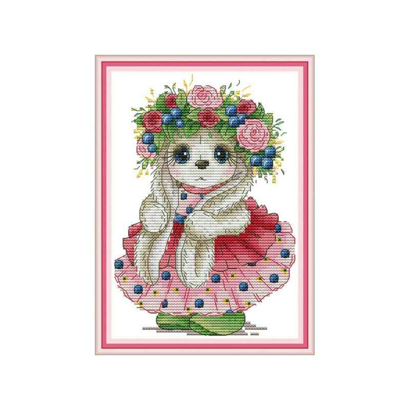Cute Bunny DIY Handmade Needlework Counted 14CT Printed Cross Stitch Embroidery Kit Set Home Decoration