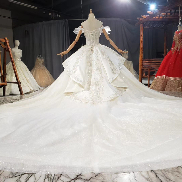 HTL1772 Ball-Gown Beaded Luxury Wedding Dress 2020 Backless Applique Off The Shoulder Short Sleeves 2