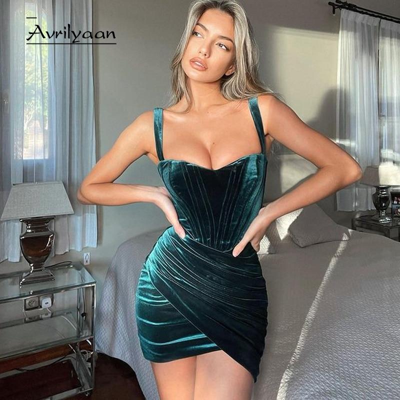 Avrilyaan 2021 зеленое бархатное Плиссированное сексуальное платье, женское облегающее мини-платье на кронштейне, Элегантное летнее платье, плат...