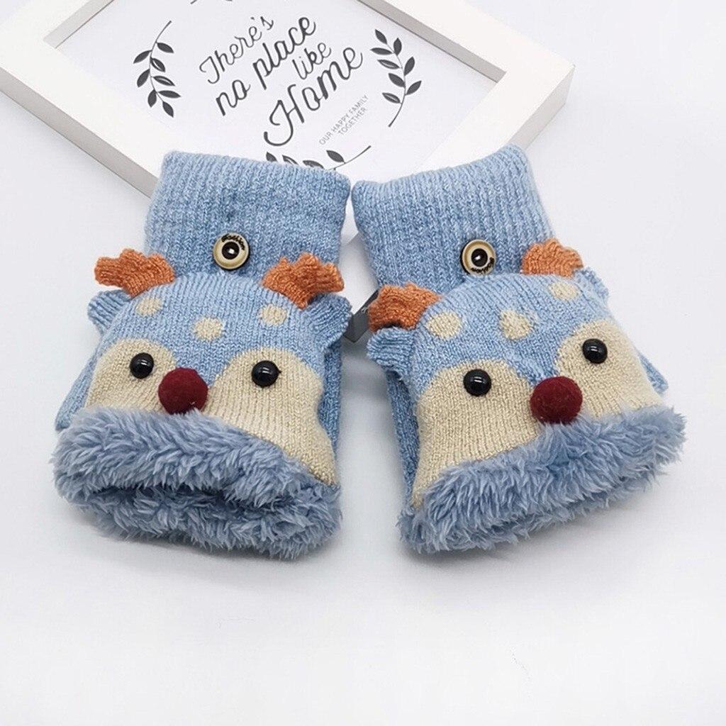 Children Kids Winter Warm Knitted Convertible Flip Top Fingerless Mittens Gloves