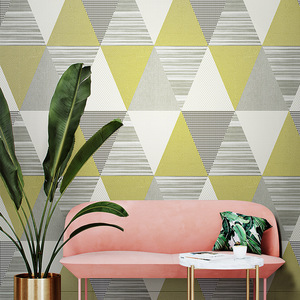 Image 1 - New Fashion Geometric Abstraction Wallpaper Roll Color Plaid Wall Paper PVC Waterproof Bedroom Living Room Wall