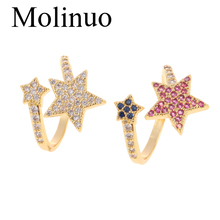 Molinuo new micro-set color inlaid zircon adjustable size star-shape ring fashion classic female jewelry 2019