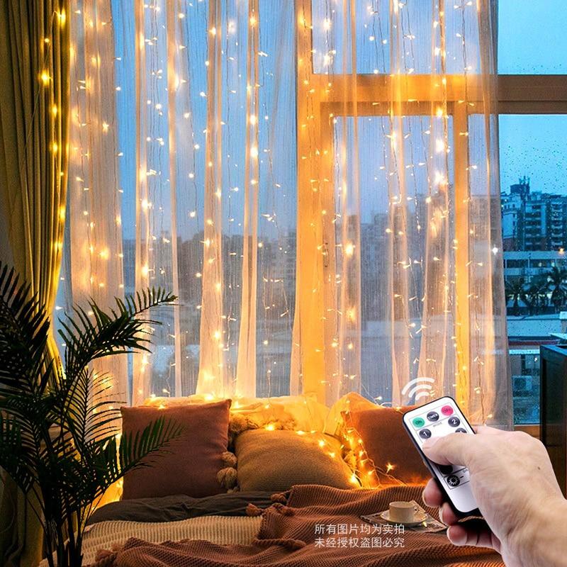 3M Led Kerst Fairy String Lights Afstandsbediening Usb Nieuwjaar Garland Gordijn Lamp Vakantie Decoratie Voor Thuis Slaapkamer venster 1