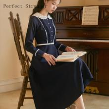 2019 Autumn Winter New Arrival Retro College Style Peter Pan Collar Woman Long Dress