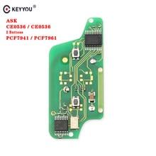 KEYYOU para Peugeot 207, 208, 307, 308, 408 CITROEN C2 C3 C4 C5 a control remoto coche clave placa de circuito electrónico de botón 2 CE0523 Ce0536